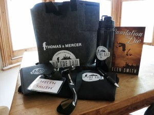 Author Helen Smith shows off some of her Amazon swag.