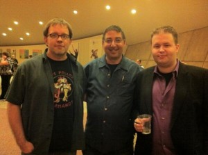 Authors John Rector, Lee Goldberg, and Roger Hobbs talk shop at Bouchercon 2013