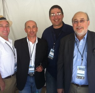 Lee with John Vorhaus, Don Winslow, Thomas Perry at the Los Angeles Times Festival of Books 2011